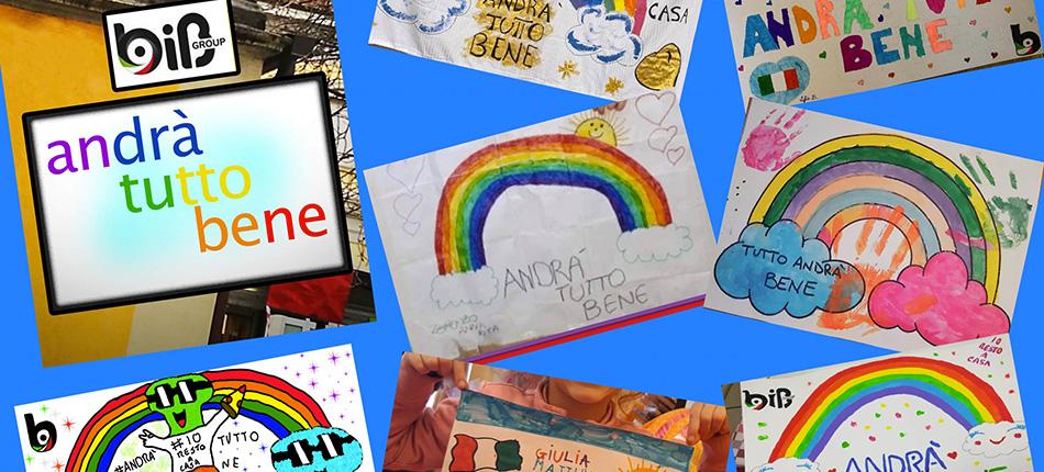 """Disegni colorati fatti dai bambini con scritto """"Andrà tutto bene""""."""